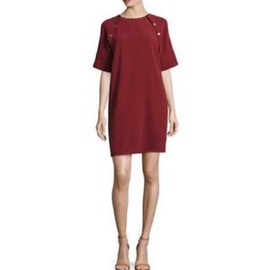 Theory Athrina Admiral Crepe Red Shift Mini Dress